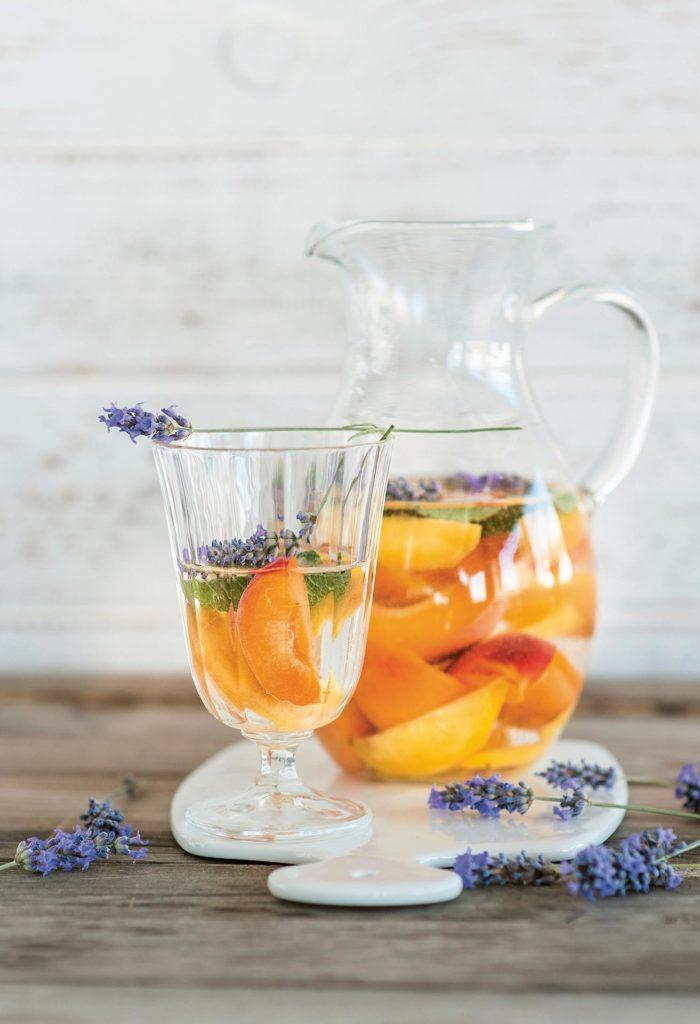 Yellow fruits and lemon balm detox water
