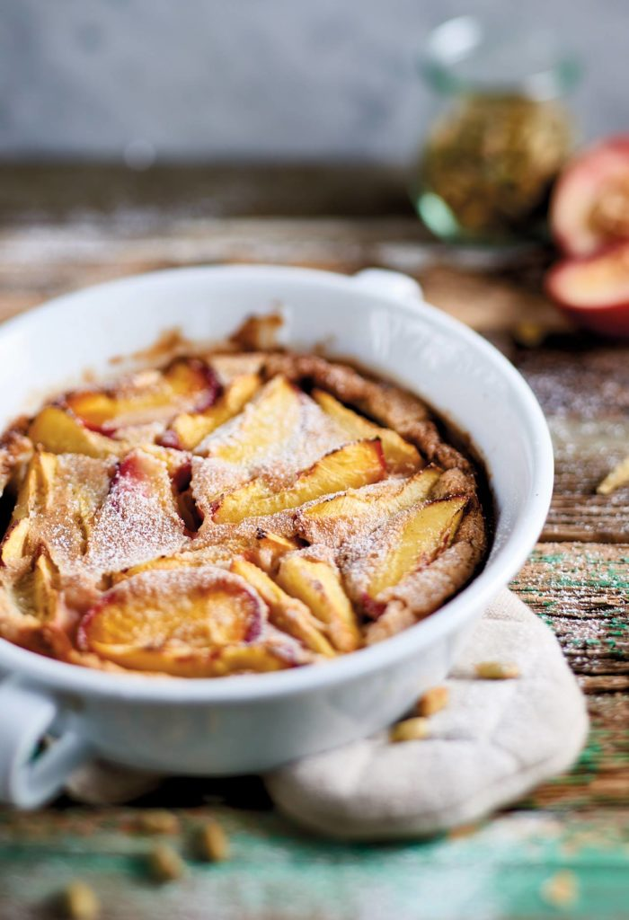 Nectarine clafoutis with coconut milk