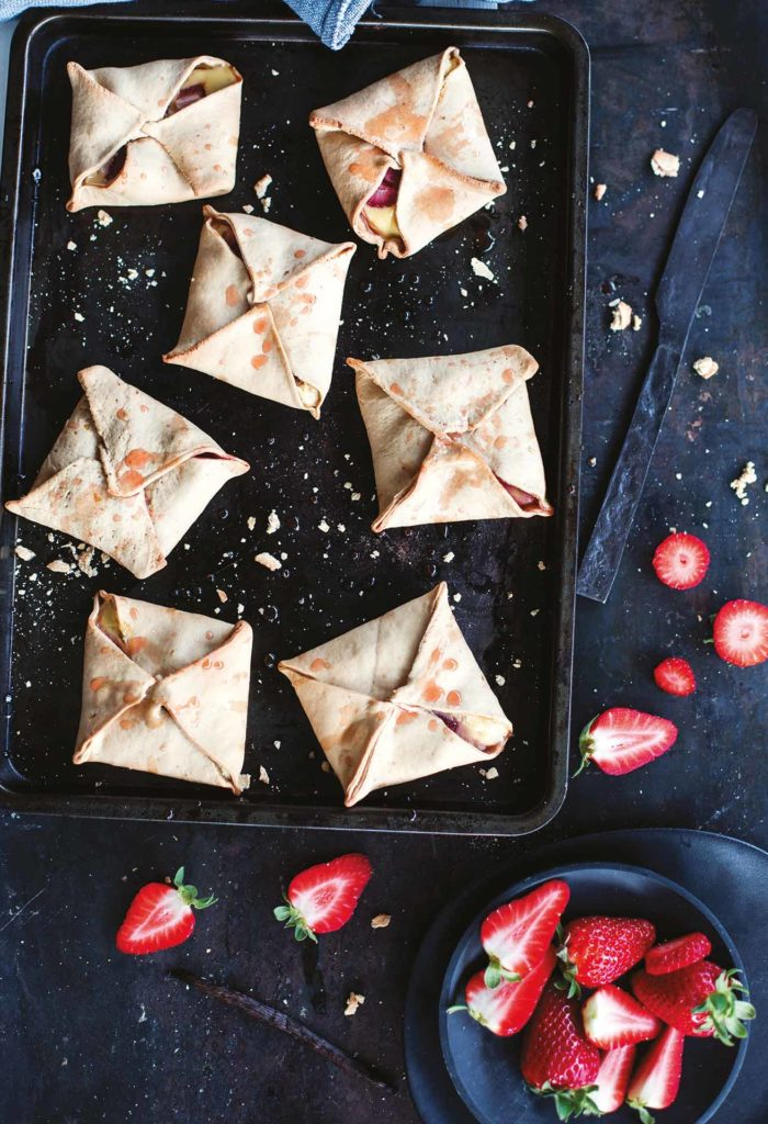 Ricotta and strawberry turnovers