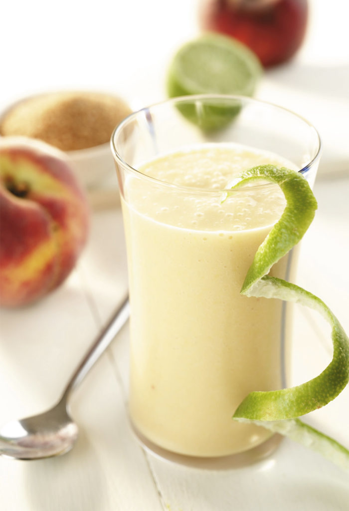 Creamy peach and lime smoothie