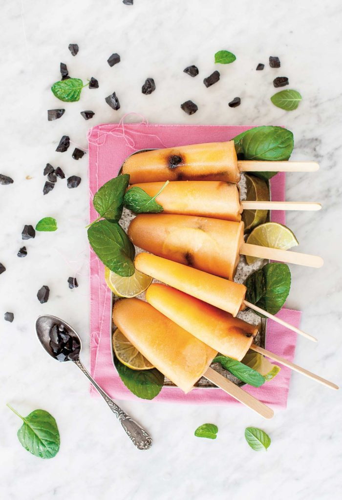 Melon, lime and liquorice popsicles