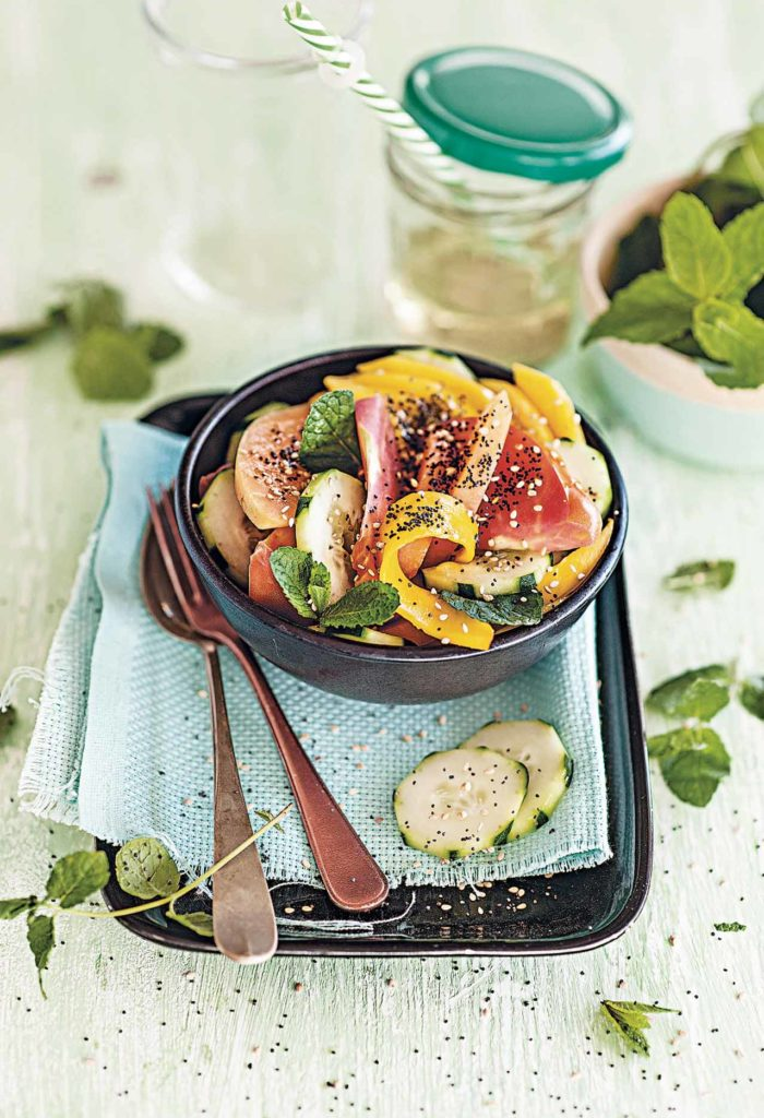 Mango, cucumber and melon salad