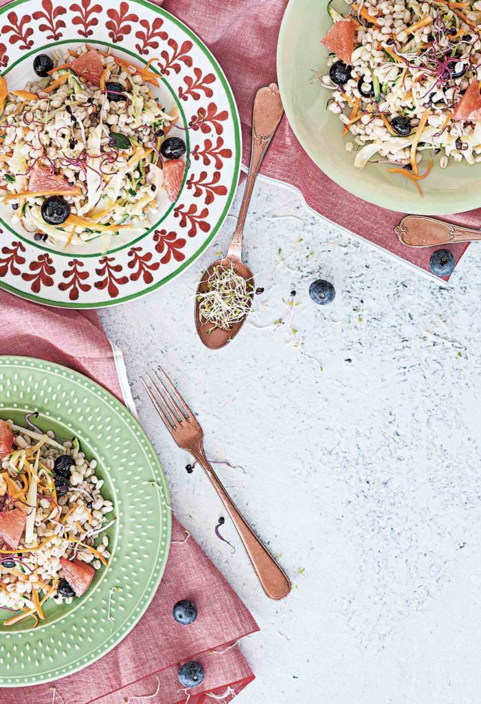 Barley salad with sprouts and blueberries