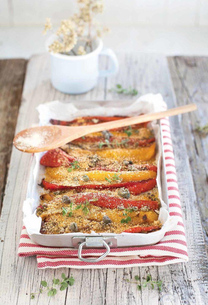 Baked peppers sprinkled with seasoned breadcrumbs