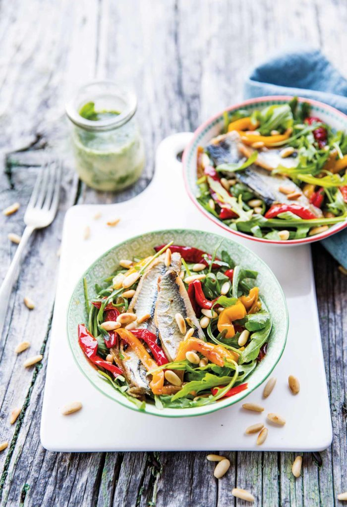 Mackerel with rocket, grilled peppers, toasted pine nuts and light pesto