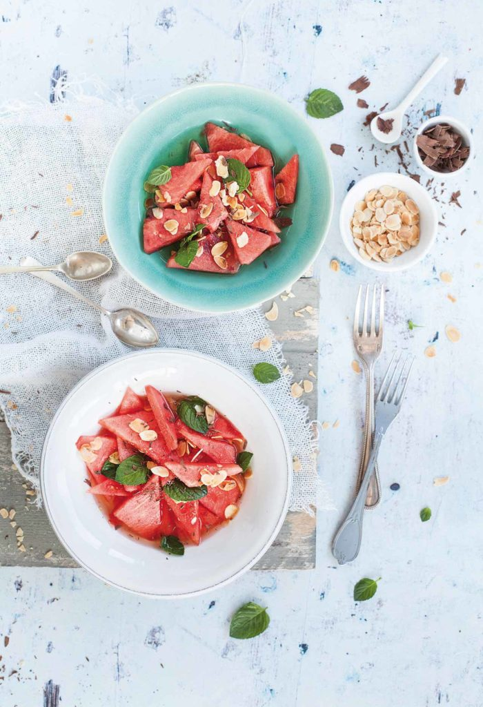 Sweet watermelon and elderflower syrup soup