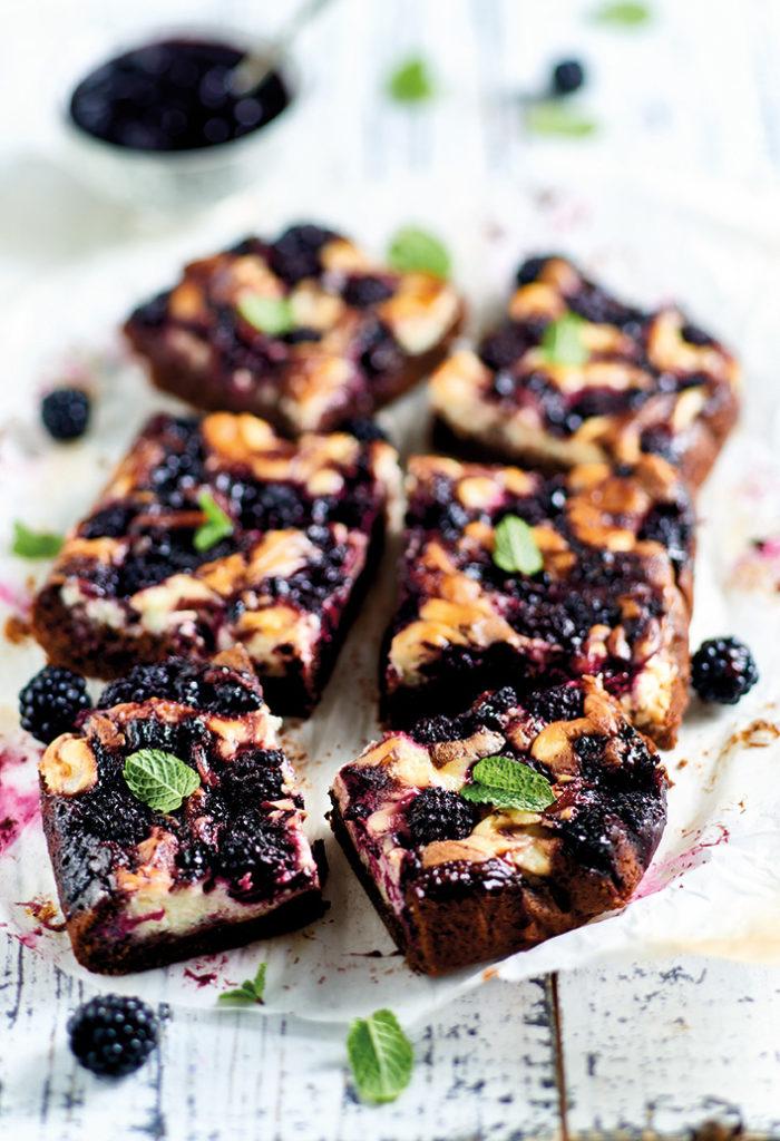Blackberry brownies cheesecake